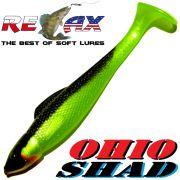 Relax Ohio Shad 2,5 Gummifisch ca. 7cm Farbe Perlfluogrün Schwarz 1 Stück Barsch&Zanderköder