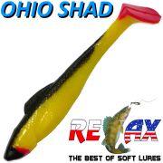 Relax Ohio Shad 4 Gummifisch ca. 10,5cm Farbe Gelb Schwarz RT 5 Stück im Set Barsch&Zanderköder