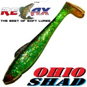 Relax Ohio Shad 4 Gummifisch ca. 10,5cm Farbe Lime Rainbow Glitter Schwarz RT 1 Stück Barsch&Zanderköder