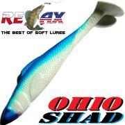Relax Ohio Shad 4 Gummifisch ca. 10,5cm Farbe Reinweiss Blau 5 Stück im Set Barsch&Zanderköder