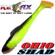 Relax Ohio Shad 5 Gummifisch ca. 14cm Farbe Fluogelb Schwarz OT 1 Stück Hecht&Zanderköder