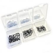 Spin Snap Set XXL 2 60 Stück in 3 Größen inklusive Kleinteilebox Karabiner Set Einhänger Set in Farbe Schwarz