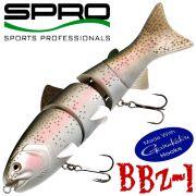 Spro BZZ-1 Swimbait Wobbler 8 20cm Gewicht 140g fast Sinking Farbe Flat Rainbow Großfischköder ideal für Hecht & Musky