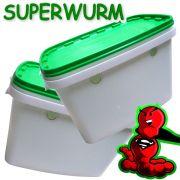 Superwurm Wurmzuchteimer Set Volumen 6 Liter Hälterungsbehälter für Würmer Wurmfarm 2 Stück im Set