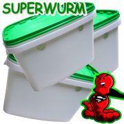 Superwurm Wurmzuchteimer Set Volumen 6 Liter Hälterungsbehälter für Würmer Wurmfarm 3 Stück im Set