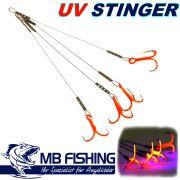 MB-Fishing Angsthaken Stinger mit BKK 6062 UV Drilling in Größe 6 / 4 Stück 100mm für Köder von 12-14cm
