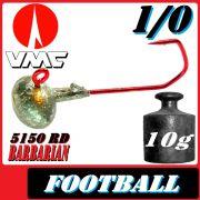 VMC Jighaken Jigkopf Football Eierkopf Größe 1/0 10g mit VMC Barbarian 5150 RD Haken 1 Stück