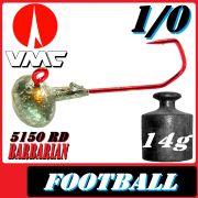 VMC Jighaken Jigkopf Football Eierkopf Größe 1/0 14g mit VMC Barbarian 5150 RD Haken 1 Stück