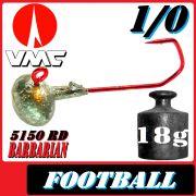 VMC Jighaken Jigkopf Football Eierkopf Größe 1/0 18g mit VMC Barbarian 5150 RD Haken 1 Stück