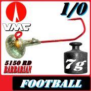 VMC Jighaken Jigkopf Football Eierkopf Größe 1/0 7g mit VMC Barbarian 5150 RD Haken 1 Stück