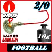 VMC Jighaken Jigkopf Football Eierkopf Größe 2/0 10g mit VMC Barbarian 5150 RD Haken 1 Stück