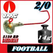 VMC Jighaken Jigkopf Football Eierkopf Größe 2/0 14g mit VMC Barbarian 5150 RD Haken 1 Stück