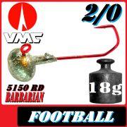 VMC Jighaken Jigkopf Football Eierkopf Größe 2/0 18g mit VMC Barbarian 5150 RD Haken 1 Stück