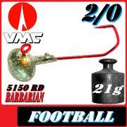VMC Jighaken Jigkopf Football Eierkopf Größe 2/0 21g mit VMC Barbarian 5150 RD Haken 1 Stück