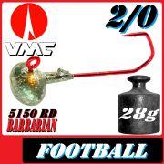 VMC Jighaken Jigkopf Football Eierkopf Größe 2/0 28g mit VMC Barbarian 5150 RD Haken 1 Stück