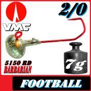 VMC Jighaken Jigkopf Football Eierkopf Größe 2/0 7g mit VMC Barbarian 5150 RD Haken 1 Stück