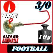 VMC Jighaken Jigkopf Football Eierkopf Größe 3/0 10g mit VMC Barbarian 5150 RD Haken 1 Stück