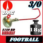 VMC Jighaken / Jigkopf - Football / Eierkopf Größe 3/0 18g mit VMC Barbarian 5150 RD Haken 1 Stück