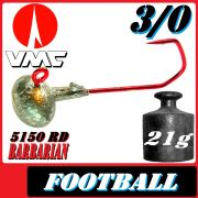 VMC Jighaken / Jigkopf - Football / Eierkopf Größe 3/0 21g mit VMC Barbarian 5150 RD Haken 1 Stück