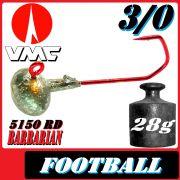 VMC Jighaken / Jigkopf - Football / Eierkopf Größe 3/0 28g mit VMC Barbarian 5150 RD Haken 1 Stück