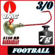 VMC Jighaken / Jigkopf - Football / Eierkopf Größe 3/0 7g mit VMC Barbarian 5150 RD Haken 1 Stück