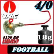 VMC Jighaken Jigkopf Football Eierkopf Größe 4/0 18g mit VMC Barbarian 5150 RD Haken 25 Stück im Set