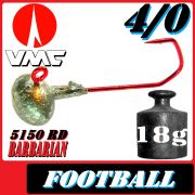 VMC Jighaken Jigkopf Football Eierkopf Größe 4/0 18g mit VMC Barbarian 5150 RD Haken 1 Stück