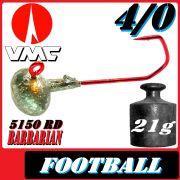 VMC Jighaken Jigkopf Football Eierkopf Größe 4/0 21g mit VMC Barbarian 5150 RD Haken 10 Stück im Set
