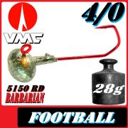 VMC Jighaken Jigkopf Football Eierkopf Größe 4/0 28g mit VMC Barbarian 5150 RD Haken 10 Stück im Set!