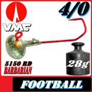 VMC Jighaken Jigkopf Football Eierkopf Größe 4/0 28g mit VMC Barbarian 5150 RD Haken 25 Stück im Set!
