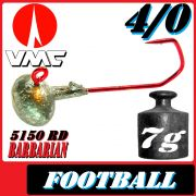 VMC Jighaken Jigkopf Football Eierkopf Größe 4/0 7g mit VMC Barbarian 5150 RD Haken 25 Stück im Set