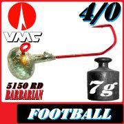 VMC Jighaken Jigkopf Football Eierkopf Größe 4/0 7g mit VMC Barbarian 5150 RD Haken 1 Stück