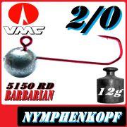 VMC Jighaken / Jigkopf - Nymphe - Wacky Größe 2/0 12g mit VMC Barbarian 5150 RD Haken 1 Stück