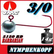 VMC Jighaken / Jigkopf - Nymphe - Wacky Größe 3/0 14g mit VMC Barbarian 5150 RD Haken 1 Stück