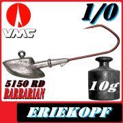VMC Jigkopfhaken Jigkopf Eriekopf 1/0 10g Jighaken mit VMC Barbarian 5150 RD Haken