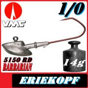 VMC Jigkopfhaken Jigkopf Eriekopf 1/0 14g Jighaken mit VMC Barbarian 5150 RD Haken