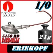 VMC Jigkopfhaken Jigkopf Eriekopf 1/0 21g Jighaken mit VMC Barbarian 5150 RD Haken