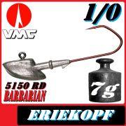 VMC Jigkopfhaken Jigkopf Eriekopf 1/0 7g Jighaken mit VMC Barbarian 5150 RD Haken