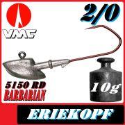 VMC Jigkopfhaken Jigkopf Eriekopf 2/0 10g Jighaken mit VMC Barbarian 5150 RD Haken