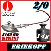 VMC Jigkopfhaken Jigkopf Eriekopf 2/0 14g Jighaken mit VMC Barbarian 5150 RD Haken
