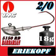 VMC Jigkopfhaken Jigkopf Eriekopf 2/0 17g Jighaken mit VMC Barbarian 5150 RD Haken