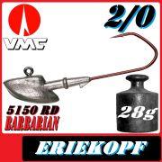 VMC Jigkopfhaken Jigkopf Eriekopf 2/0 28g Jighaken mit VMC Barbarian 5150 RD Haken