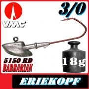 VMC jigkopfhaken Jigkopf Eriekopf 3/0 18g Jighaken mit VMC Barbarian 5150 RD Haken