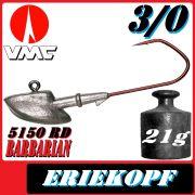 VMC jigkopfhaken Jigkopf Eriekopf 3/0 21g Jighaken mit VMC Barbarian 5150 RD Haken