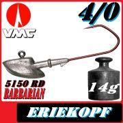 VMC Jigkopfhaken Jigkopf Eriekopf Größe 4/0 in 14g Jighaken mit VMC Barbarian 5150 RD Haken