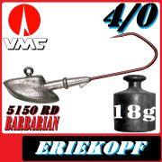 VMC Jigkopfhaken Jigkopf Eriekopf 4/0 18g Jighaken mit VMC Barbarian 5150 RD Haken
