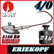 VMC Jigkopfhaken Jigkopf Eriekopf 4/0 21g Jighaken mit VMC Barbarian 5150 RD Haken