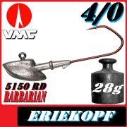 VMC Jigkopfhaken Jigkopf Eriekopf 4/0 28g Jighaken mit VMC Barbarian 5150 RD Haken
