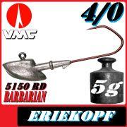 VMC Jigkopfhaken Jigkopf Eriekopf 4/0 5g Jighaken mit VMC Barbarian 5150 RD Haken