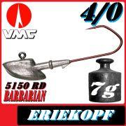 VMC Jigkopfhaken Jigkopf Eriekopf 4/0 7g Jighaken mit VMC Barbarian 5150 RD Haken